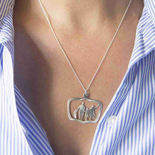 Family Love Mom Dad Son Daughter Necklaces Gifts Silver Pendants Boys Girls Mothers