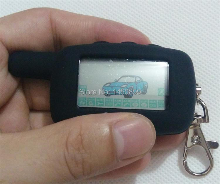 2 way LCD Remote Control Key Fob Chain Keychain with LOGO Silicone Key Case For Two