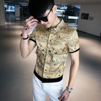 Spring and summer new men's short sleeved shirt social people fashion tide male youth flower shirt personality half sleeves