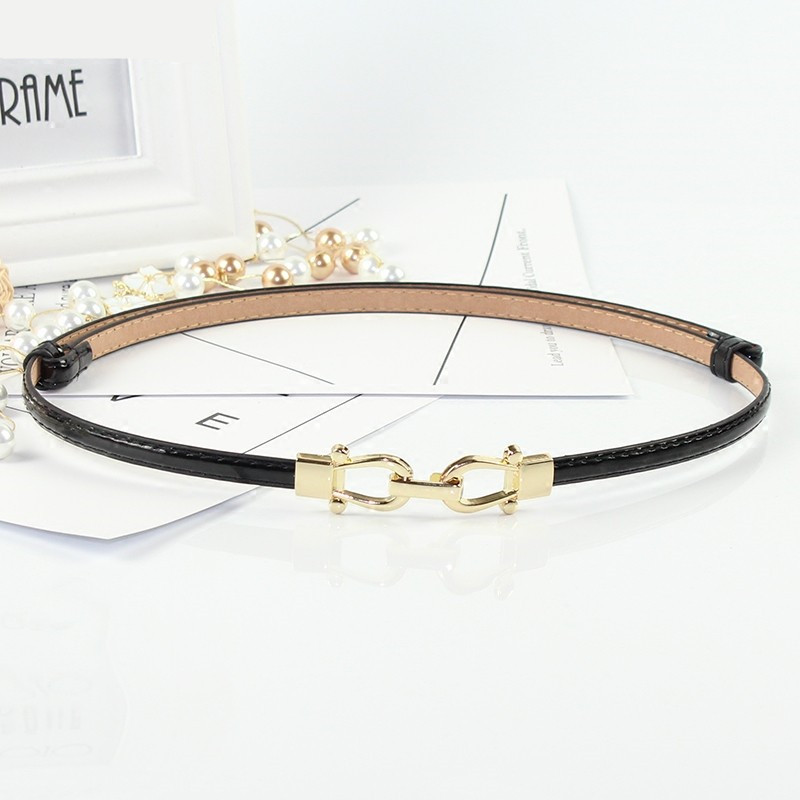 Fashion Thin PU Patent Leather Belt Adjustable Women Belts HOT Red Waistbands Lady Dress Decorate Black High Quality Solid White