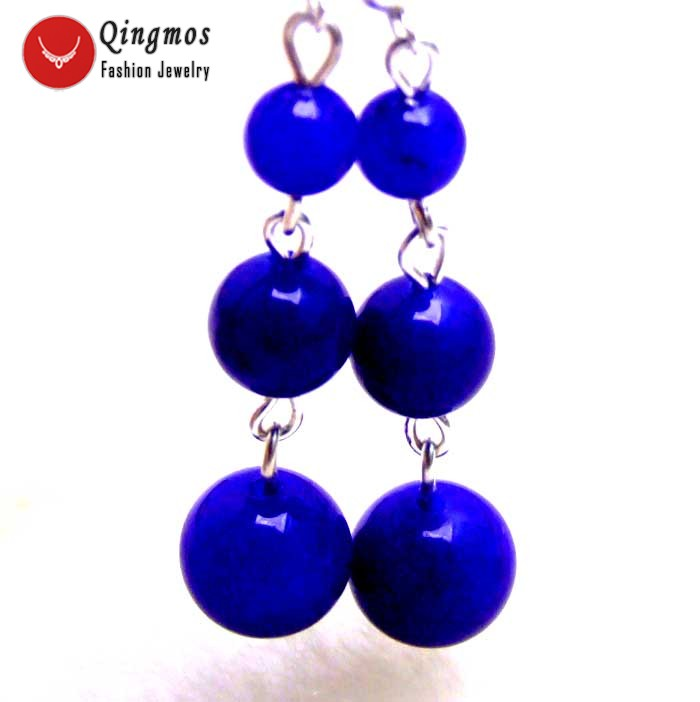 Qingmos Natural Jades Earrings for Women with 6-8-10mm Round Blue Jades & Stering Silver 925 Earrings Stud Fine Jewelry ear411