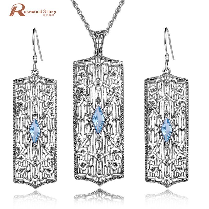 Real 925 Sterling Sliver Sets Popular Charming Sky Blue Stones Crystal Fashion Jewelry Set for Women Vintage Pendant Earrings