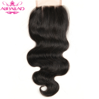 Aliballad Brazilian Body Wave Lace Closure Three Part 4X4 Natural Color Non Remy Hair Closure 100