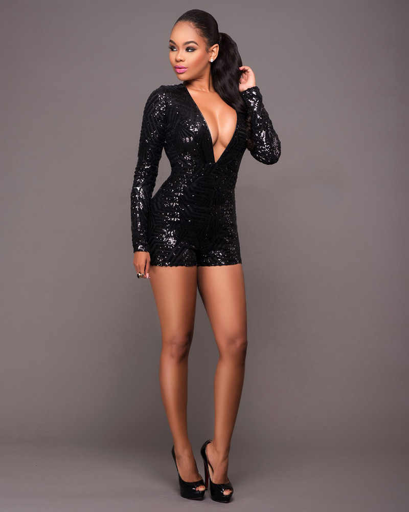 Beyprern Glam Lange Mouwen Betaald Sequin Skinny Rompertjes Womens Sexy Backless Ingericht Pailletten Korte Jumpsuit Club Body Overalls