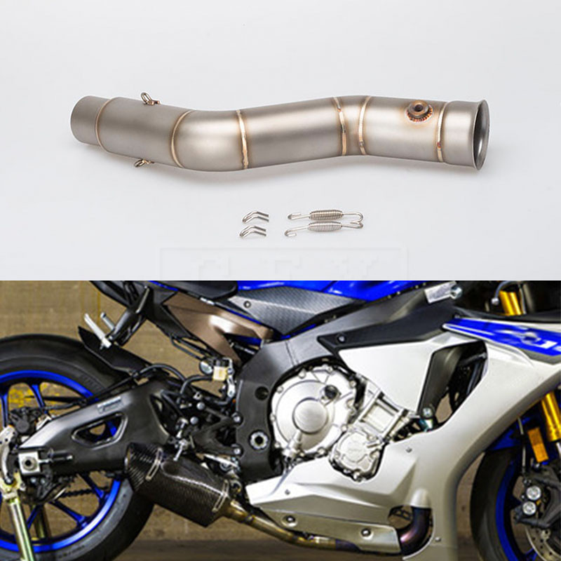 Motorcycle Exhaust Muffler Middle Link Pipe Connection Pipe For Yamaha YZF R1 Yzf-R1 2008 2009 2010 2011 2012 2013 14 15 Slip-on motorcycle accessories motorbike muffler stainless steel exhaust pipe for ktm 690 smc 2008 2009 2010 2011 ducati 899 panigale