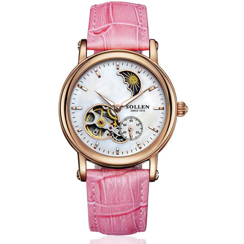 SOLLEN SL401 watches women luxury brand automatic mechanical hollow skeleton moon phase closer heart Italian calfskin rose gold цена