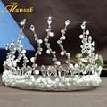 Diseño único Hecho A Mano de Cristal Barroco Mujeres Novias Boda Coronas Tiara Rhinestone Coronas Tiaras Accesorios Para el Cabello Joyería Tm001
