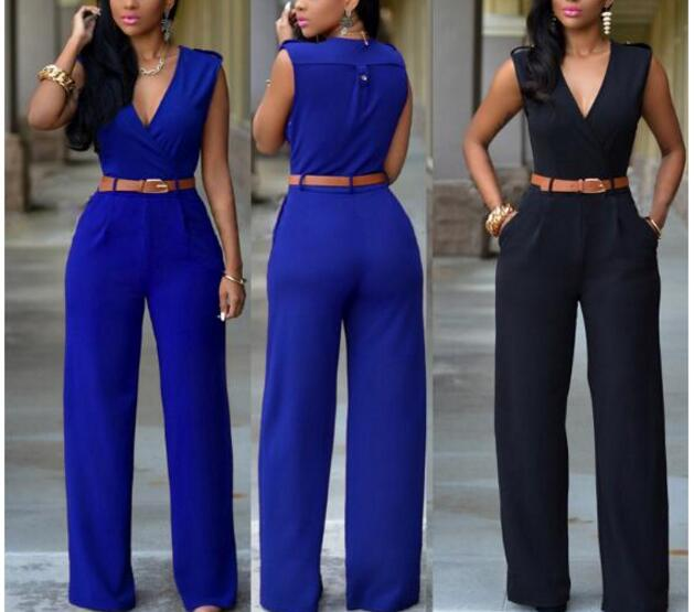 Women Jumpsuit Rompers Long-Overalls Pu-Waist-Belt Elegant Summer Sleeveless Bow V-Neck