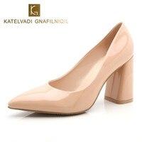 אישה נעלי עקבים גבוהים משאבות נעלי חתונה עקבים עבים נשים אופנה נעלי עבודת בוהן מחודדת עקבים גבוהים משאבות נשים B-0226