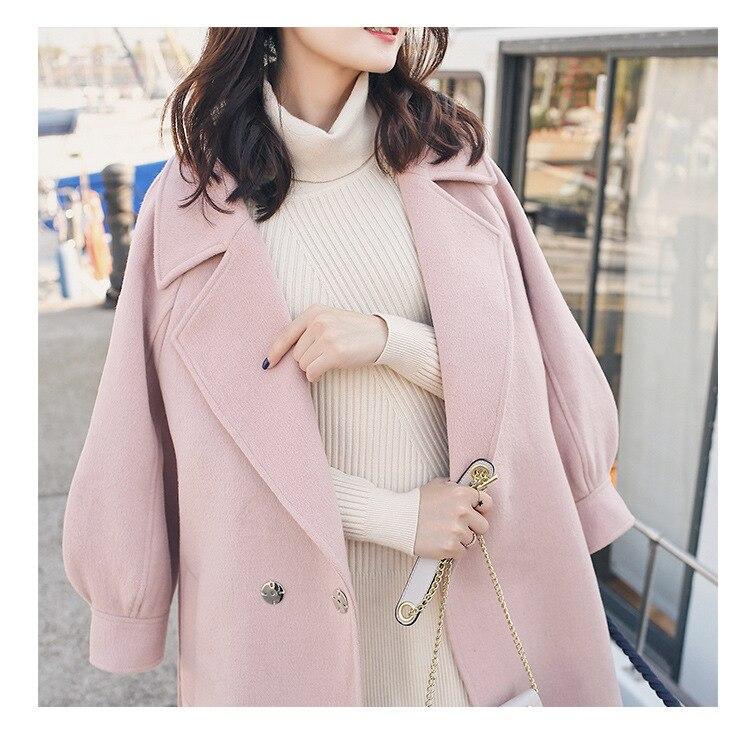 Plus Size Loose Warm Wool Blends Long Winter Coat Turn-down Collar Adjustable Belt Wool Coats Women Office Work Wear Elegant 4