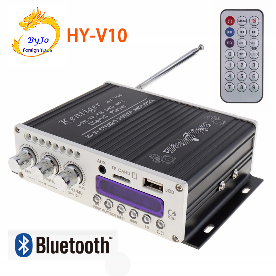 <font><b>HY</b></font>-<font><b>V10</b></font> 20W x 2 HI-FI Bluetooth Car Power Amplifier 2 channel FM Radio Player Support SD / USB / DVD / MP3 Input HYV10 image