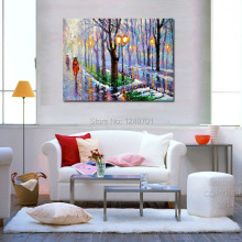 Hand Painted Spring park Scenery Art Palette knife oil painting on canvas Home Wall Decoration Art Painting