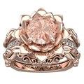 Романтический Природный Морганит Цветок Свадебный Комплект 18 К Твердые Розовое Золото 8 мм Круглый Morganite Gemstone Обручальное Кольцо Невесты Набор ювелирные изделия