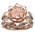 Romatic Natural Morganite Flower Wedding Set 18K Solid Rose Gold 8mm Round Morganite Gemstone Engagement Ring Bridal Set Jewelry
