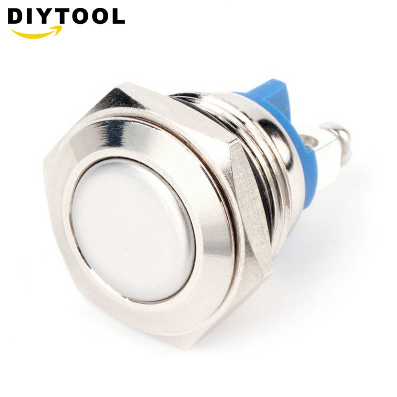 Horn Button Momentary Steel 16mm Push Button Switch Car Dash 250V 3A Metallic luster and blue color metal switch