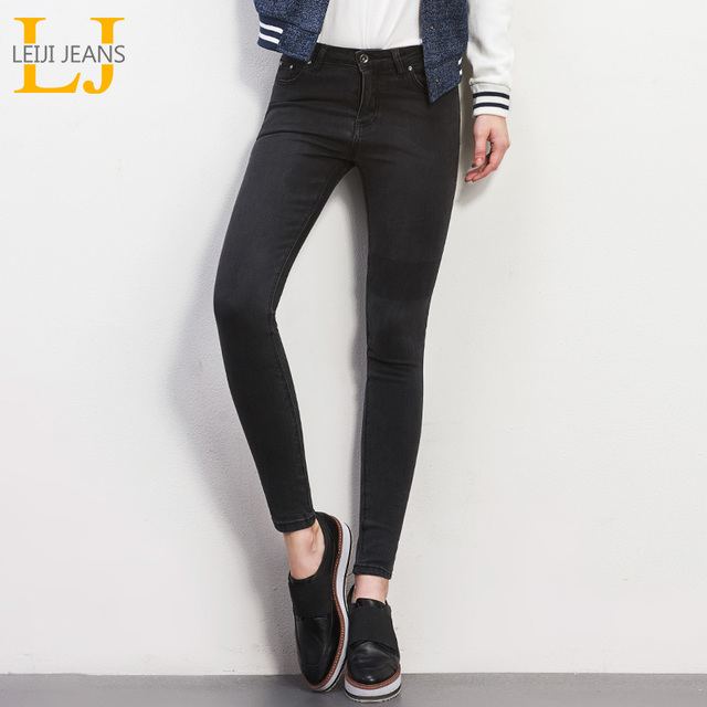 LEIJIJEANS 2018 New arrival Black Gray Full Length Plus Size Women Jeans Mid Waist Denim Pants Elastic Slim Jeans For Big Women