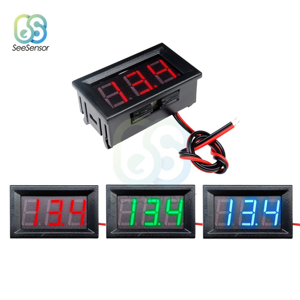 2 Wires 0.56 Inch Digital Voltmeter DC 4.5V To 30V Digital Voltmeter Voltage Panel Meter LED Voltage Measurement Instruments