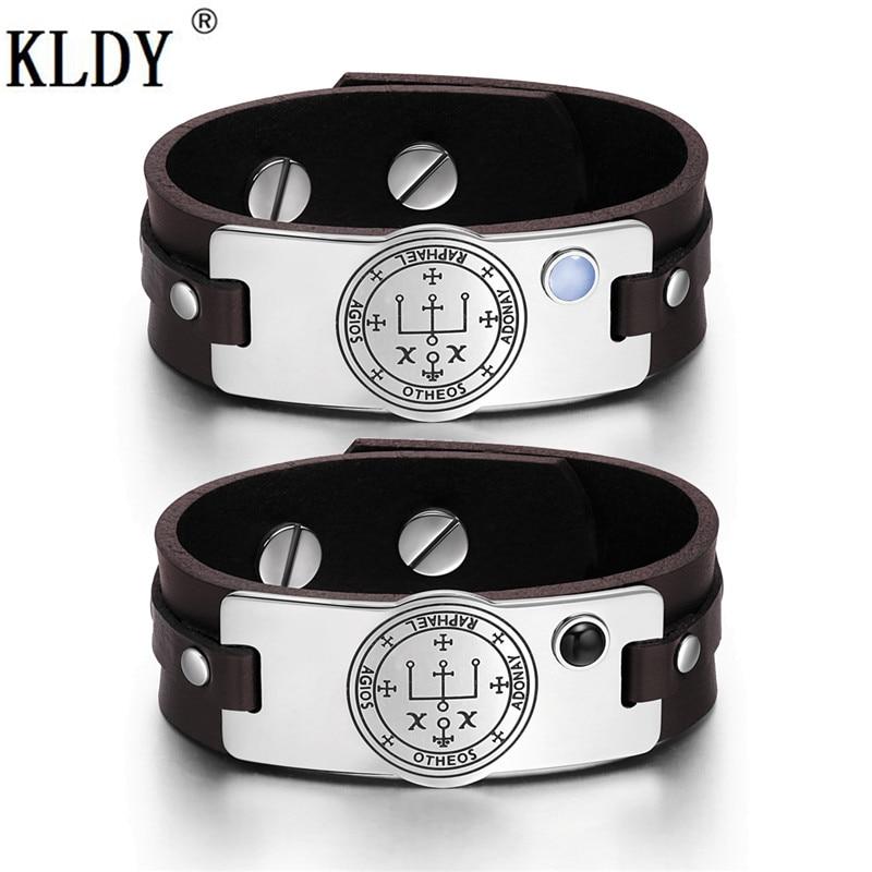KLDY Genuine Leather Couple Bracelet & Bangle Stainless Steel adjustable men fashion Bracelet Business decorations Amulet series цена 2017
