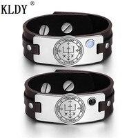 KLDY Genuine Leather Couple Bracelet & Bangle Stainless Steel adjustable men fashion Bracelet Business decorations Amulet series