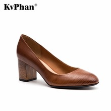 KvPhan 100% Genuine Leather Pumps For Women Shoes Wood Grain Square Heel Luxury Quality Heels Slip On Bridal Shoes Russion Size