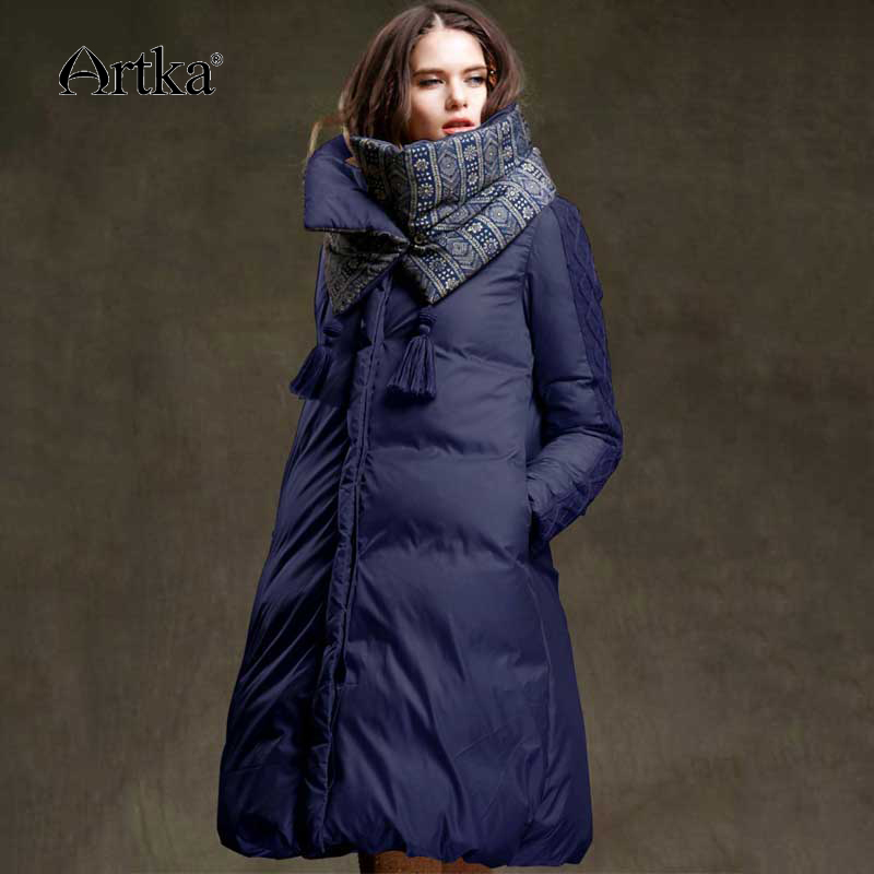 US $89.9 42% OFF|ARTKA Winter Jacket Women 90% Duck Down Coat 2018 Warm Parka Female Long Down Jacket Quilted Coat With Removable Scarf ZK15357D in