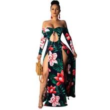 2019 Summer Long Maxi Dress Women Floral Print Hollow Dress Ankle-Length High Slit Bohemian Dress see through random floral long sleeves slit maxi dress