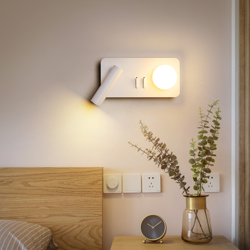Black/White New Ideal Modern brief bedroom study wall lights simple bedside lamp Creative Living room wall lamps Sconce