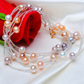 ASHIQI 130cm Long colorful Natural Freshwater pearl bracelet for women , 925 sterling silver jewelry with crystal