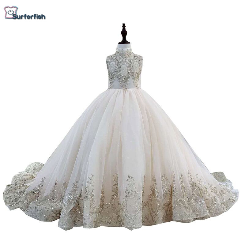 Surferfish Children s girl s princess wedding dress girl Beaded sleeveless evening dress gold Sequins Ball