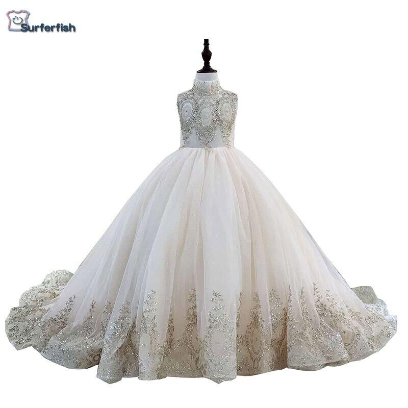 e555b550816e Surferfish Children's girl's princess wedding dress girl Beaded sleeveless  evening dress gold Sequins Ball Valentine's Day Dress
