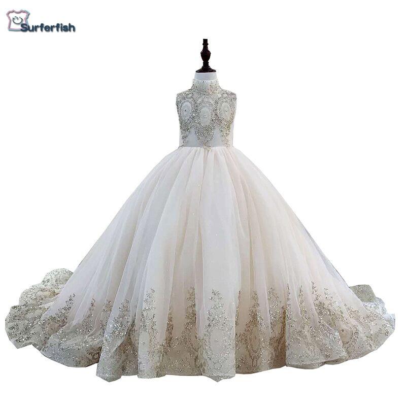 Surferfish robe de mariée princesse enfant fille robe de soirée sans manches perlée or paillettes robe de saint valentin