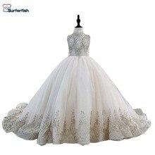 Surferfish子供の女の子の王女のウェディングドレスガールビーズノースリーブイブニングドレスゴールドスパンコールボールバレンタインデーのドレス
