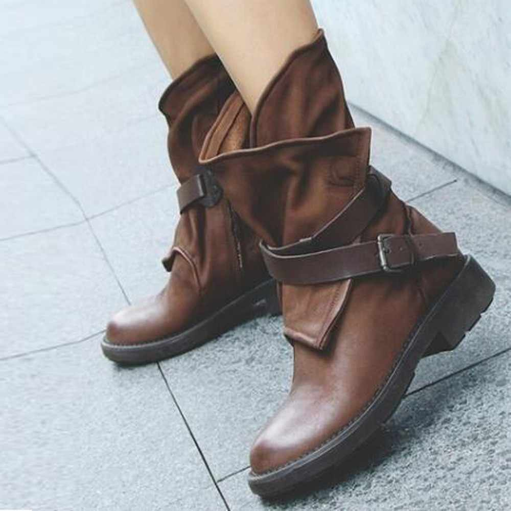 MUQGEW Fashion shoes woman Medium Military Boots Women Buckle Artificial Leather Patchwork boots women shoes botas mujer shoes