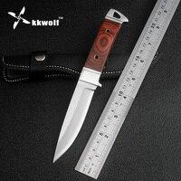K90 KKWOLF Quente Tático Faca de Lâmina fixa faca de caça De Couro bainha de sobrevivência de acampamento ao ar livre ferramentas faca EDC Frete grátis