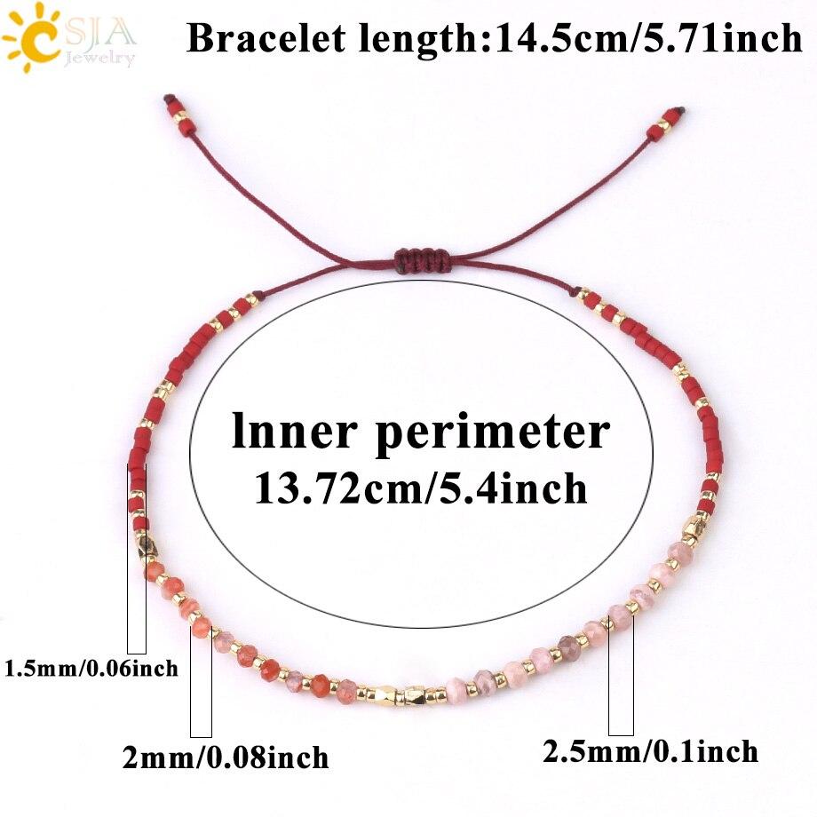 CSJA Delicate Miyuki Bracelets Boho Natural Stone Bracelet for Women Seed Beaded Bohemian Jewelry Handmade Braiding Armband S431