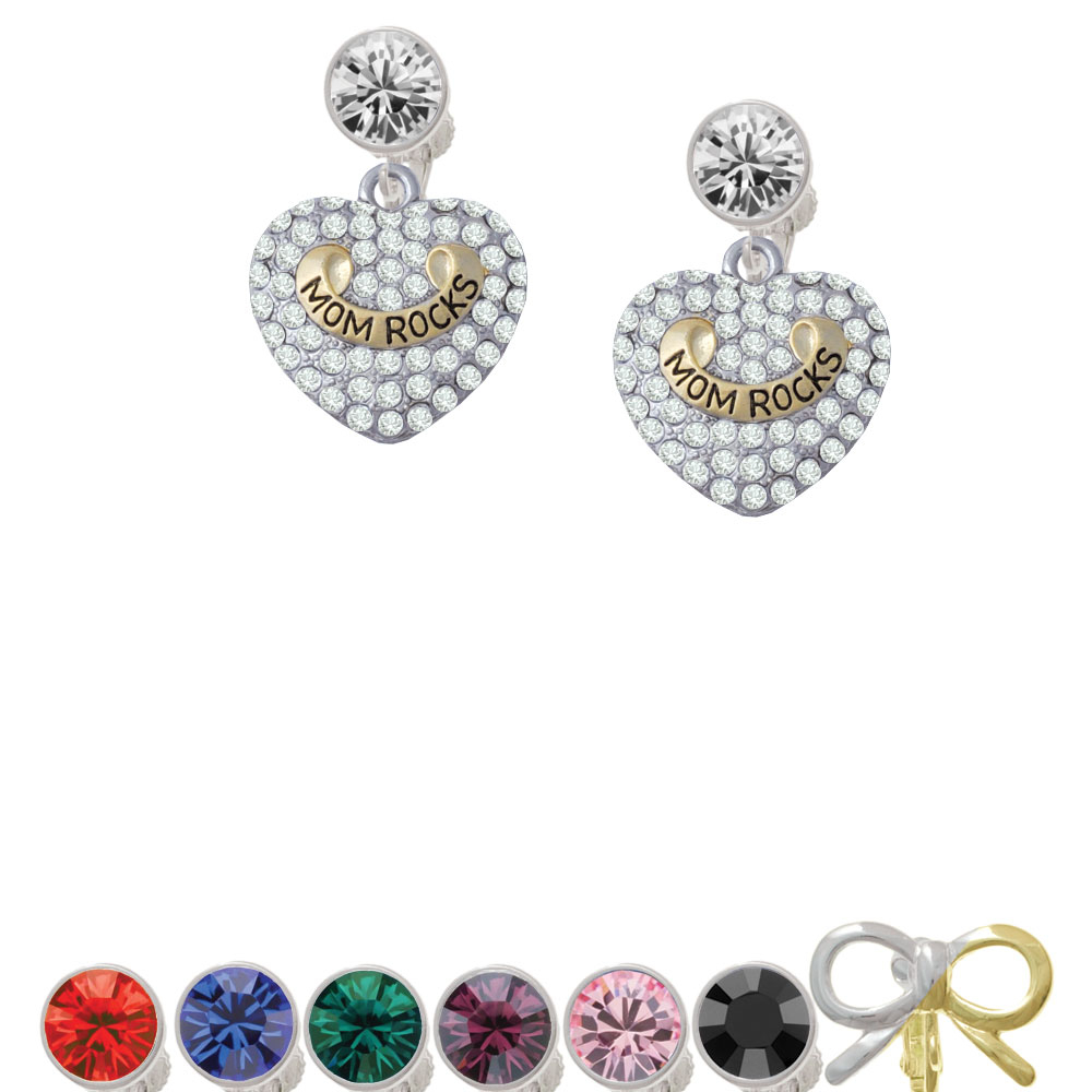 Gold-colored Tone 'mom Rocks' On Clear Crystal Heart Crystal Clip On Earrings love on the rocks