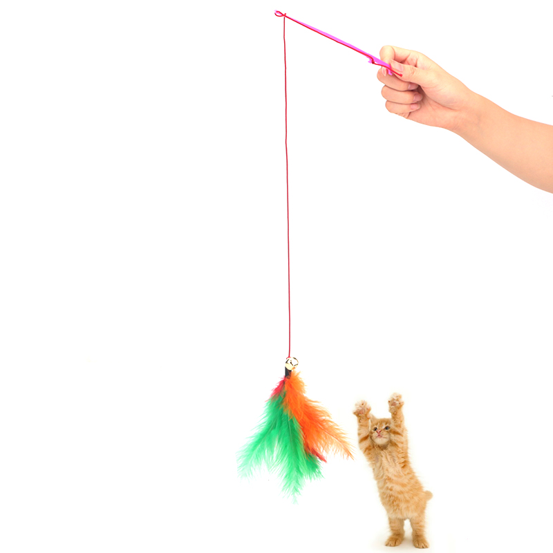 Pet cat toy funny fishing rod cat stick elastic wire for Cat toy fishing pole