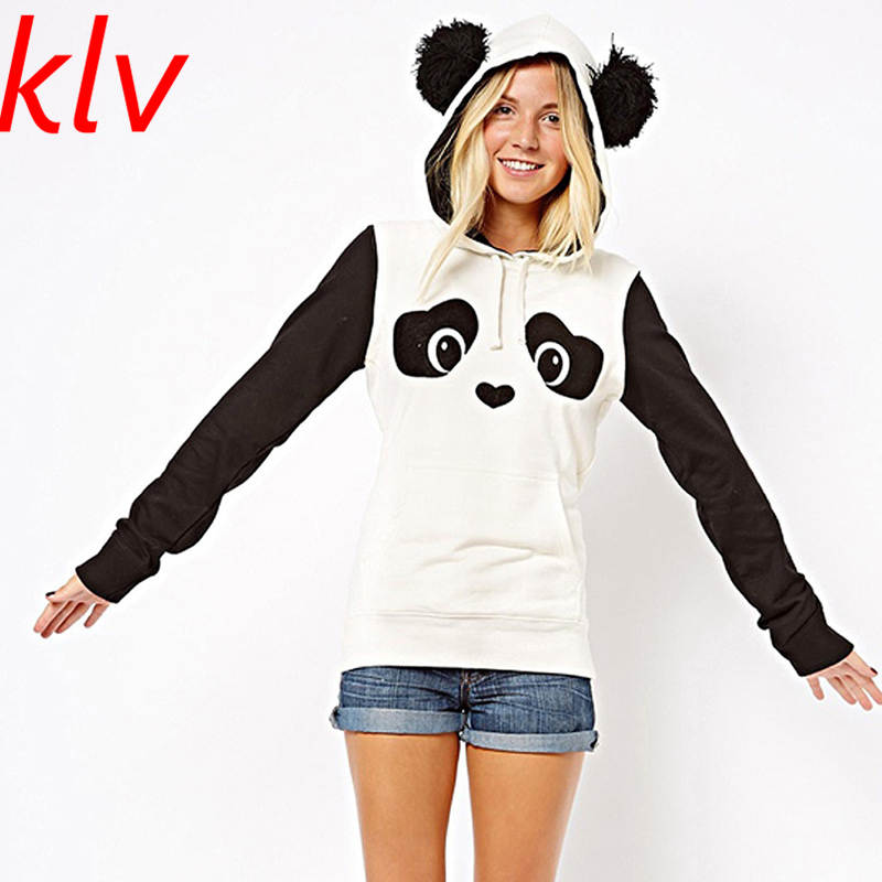 2017 New Fashion High Quality Women's  Winter Warm Panda Fleece Pullover Jumper Hooded Sweater Coat Tops