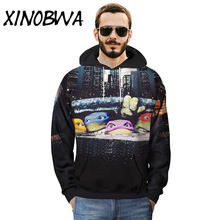 Lovers' Hoodies 2018 Autumn and Winter New Cartoon Ninja Turtles Printed Hooded Outwear Men's Fashion Loose Sweatshirts Coats(China)