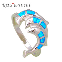 Fantastic Dolphin Design Wholesale Retail Blue Fire Opal 925 Sterling Silver Fashion Jewelry Rings USA Size