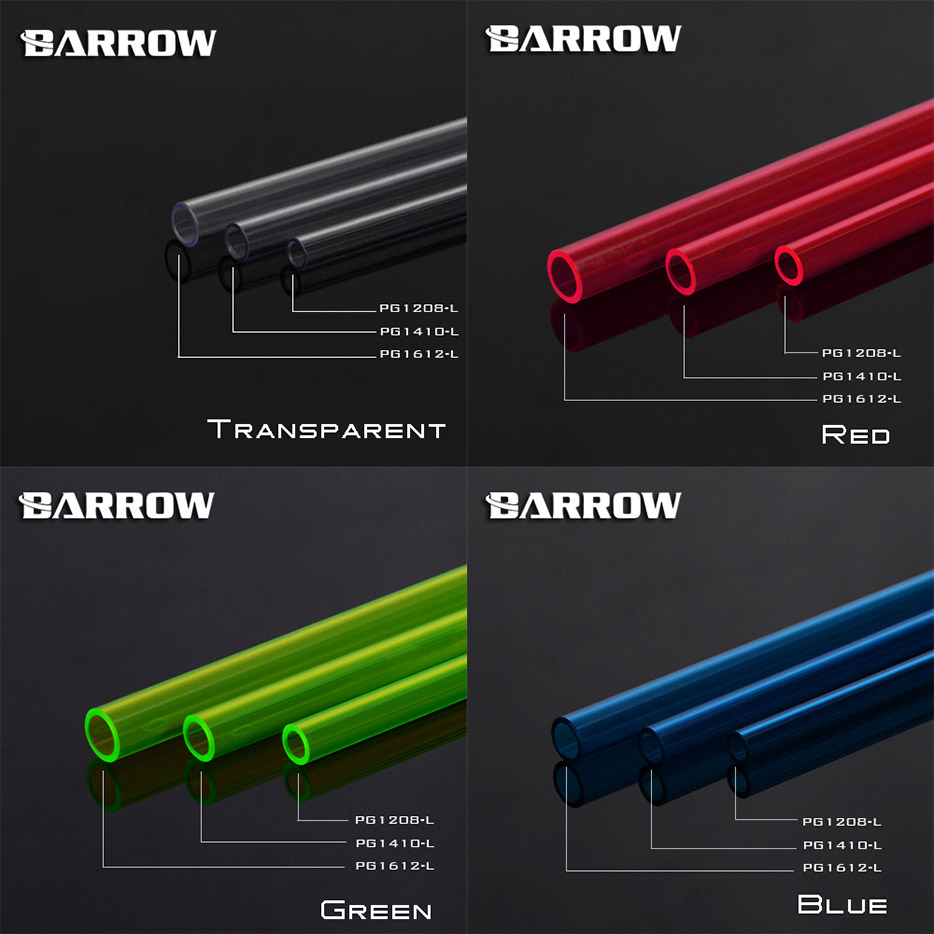 Barrow PG1612/PG1410/PG1208, 500mm PETG Hard Tubes, High Quality PETG Light Transmission, 12x8/14x10/12x16mm, 2 Tubes/lot