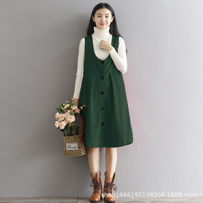 e46ee659b39ae7 Spring Japan Style Mori Girl Sleeveless Corduroy Long Dress Plus Size  College Wind Overalls Sundress Female