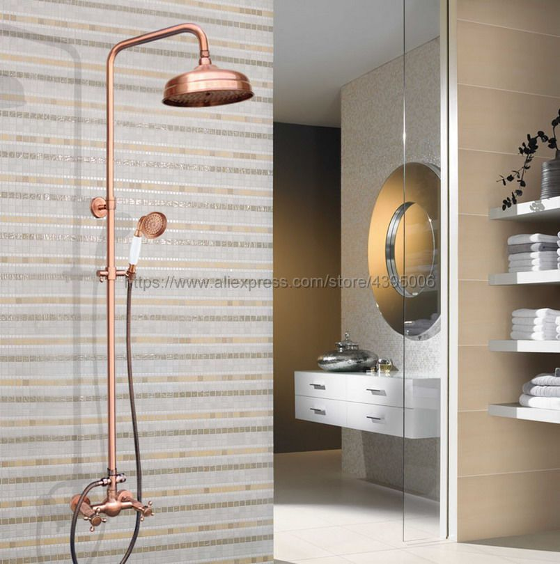 Antique Red Copper Wall Mount 8 inch Bathroom Shower Faucet Mixer Taps Dual Handle with Hand Held Shower Brg524 in Shower Faucets from Home Improvement