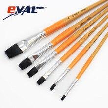 Eval 6Pcs Black Flat Nylon Hair Acrylic Art Supplies Paint Brush Oil Watercolor Gouache Artist Brush