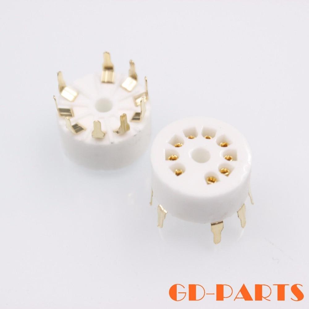 2PCS Gold Plated Ceramic PCB Mount 9PIn B9A Ceramic Tube Socket For 12AX7,12AU7,6DJ8,CV491,ECC83,B339,12AT7,ECC82 12AU7