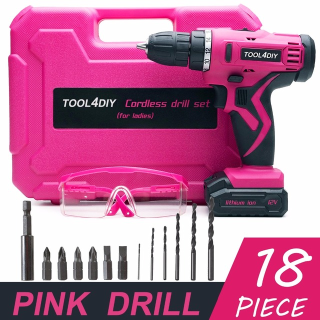 65aca73d4f0ab6 TOOL4DIY 12V Pink Cordless Electric Drill Driver Kit for Women Tool for  Ladies