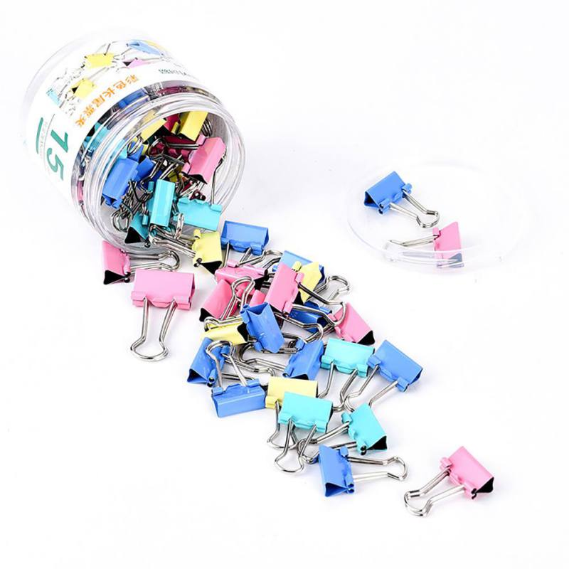 40Pcs Paper Clip 19mm Foldback Binding Supplies Mini Colorful Binder Clips Metal Office Stationery Document Clips Random Color