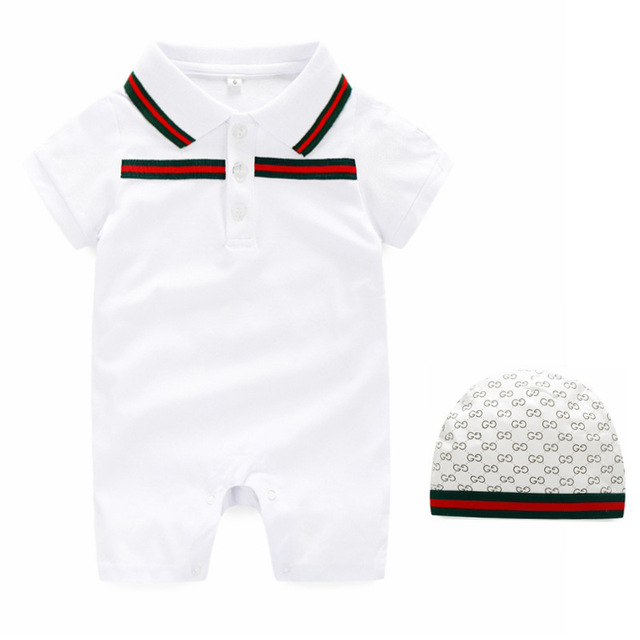 3cc6130f2 Fashion Summer Baby Rompers Hat Set Cotton Unisex Polo Onesie Turn ...