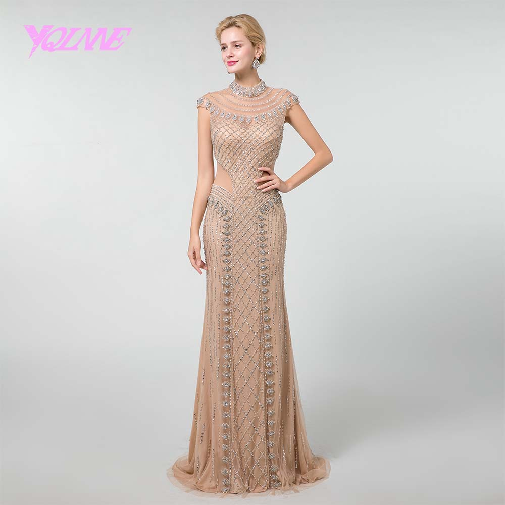 YQLNNE Sexy Champagne Rhinestones Beading   Evening     Dress   2019 High Neck Little Mermaid Women Party   Dress   Pageant   Dresses