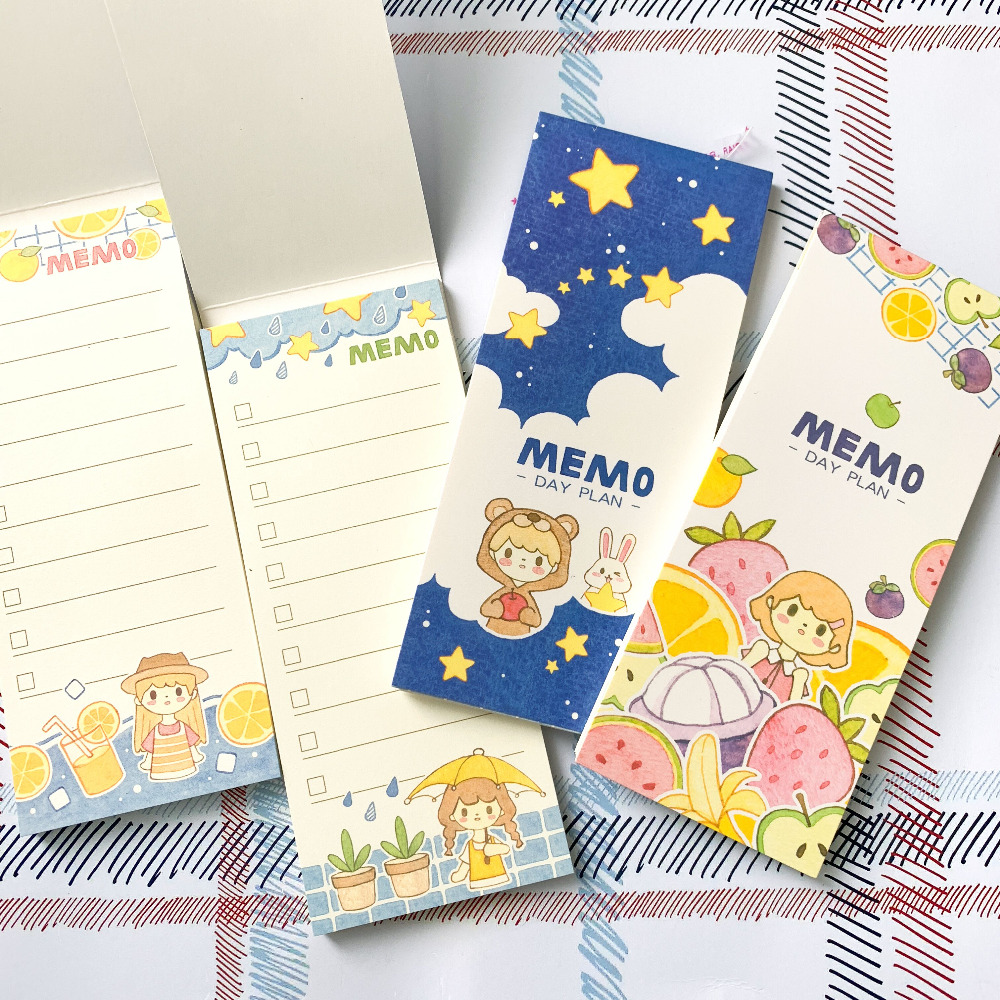 30 Pages/ Pack Sweet Girl With Fruit Star Portable Planner Memo Pad Sticky Notes Stationery Notepads Kids Gift